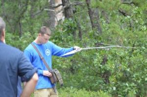 Evan Drake demonstrating telemetry equipment.